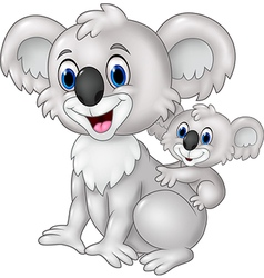 Cartoon funny baby koala on mother back vector
