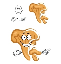 Cartoon orange chanterelle mushroom character vector