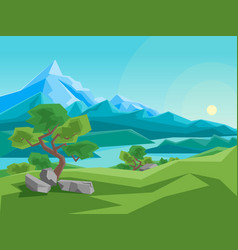 Cartoon summer mountain and river on a landscape vector
