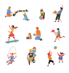 Children play games with toys toddlers teenagers vector
