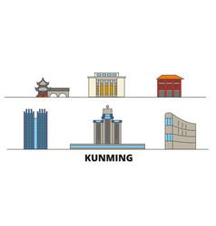 china kunming flat landmarks vector image