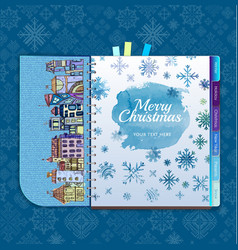 Christmas background Notebook Decorative city vector