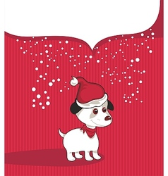 Christmas Background With Puppy vector image