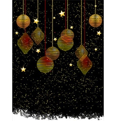 Christmas baubles and stars portrait background vector