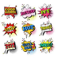 Comic speech chat bubble set pop art style sound vector