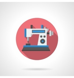 Computer sewing machine flat round icon vector image