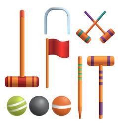 Croquet icons set cartoon style vector