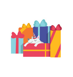 cute dog sleeping on gift boxes funny cartoon vector image
