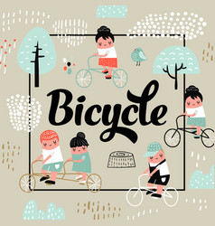 Cute kids on bicycle design childish background vector