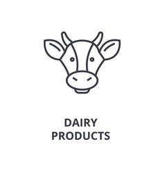 Dairy products cow head line icon outline sign vector