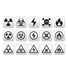 Danger risk warning buttons set vector