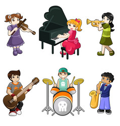 Different kids playing musical instrument vector