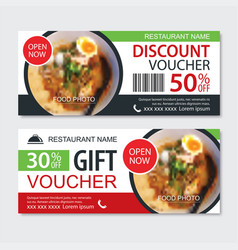 discount gift voucher asian food template design vector image
