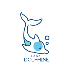 Dolphine logo design abstract emblem with diving vector