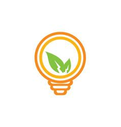 Eco leaf lightbulb electric logo vector