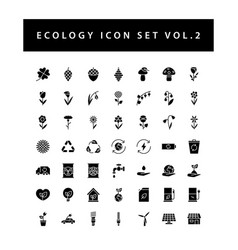 Ecology icon set with black color glyph style vector