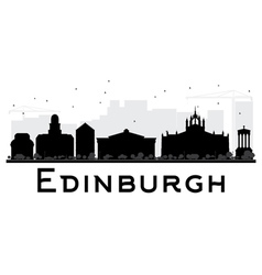 Edinburgh City skyline black and white silhouette vector image
