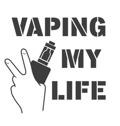 Emblem of an electronic cigarette in hands vector