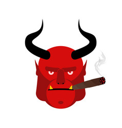 Evil satan with cigar aggressive devil with horns vector