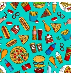 Fast food snacks drinks dessert seamless pattern vector image
