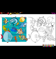 fish characters group coloring book vector image