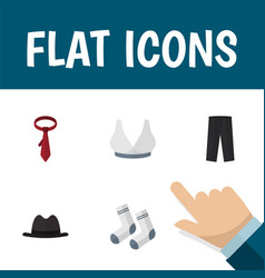 Flat icon garment set of panama foot textile vector