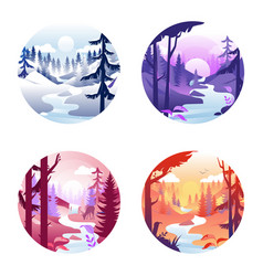 Four round icons with seasonal landscapes vector