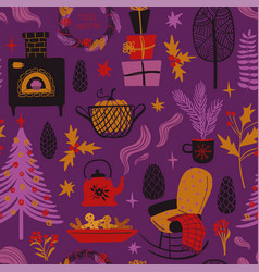 funny seamless pattern christmas symbols vector image