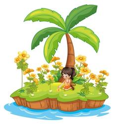 Girl on an island vector