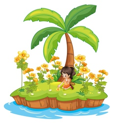 Girl on an island vector image