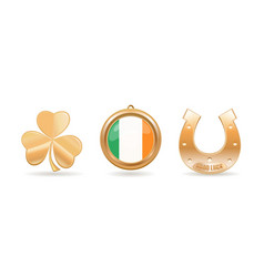 Gold icon set for st patricks day vector