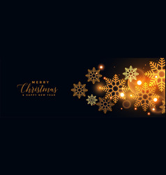 golden snowflakes on black merry christmas banner vector image