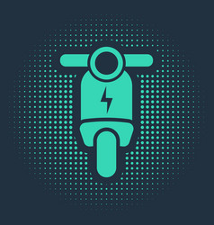 Green electric scooter icon isolated on blue vector