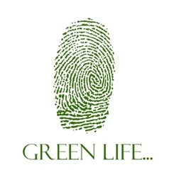 Green isolated fingerprint on white vector