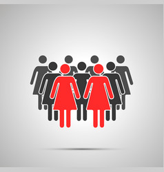 group woman silhouette with two red leaders vector image