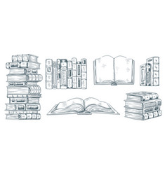 Hand drawing books drawn sketch literature vector