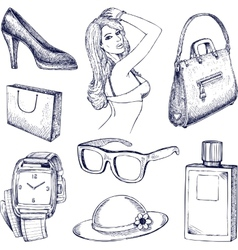 Hand drawn fashion elements vector