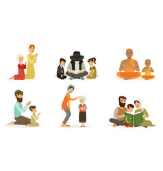Happy families different religions collection vector