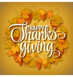 happy thanksgiving with text greeting and autumn vector image