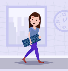 Happy woman holding computer keyboard template vector