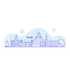 helsinki skyline finland city buildings vector image