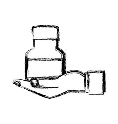 Human hand holding bottle medicine pet care sketch vector
