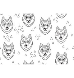Husky or wolf ink seamless pattern vector