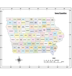 iowa state outline administrative map vector image