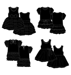 Kids dresses Sketch Black vector