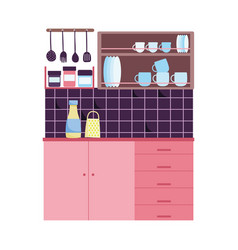 Kitchen interior tile wall grater food tableware vector