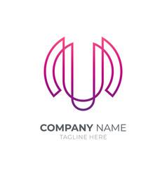 letter m u logo vector image
