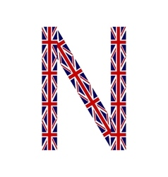 Letter N made from United Kingdom flags vector image