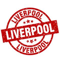 Liverpool red round grunge stamp vector