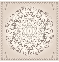 Mandala ornament circular pattern Baroque style vector